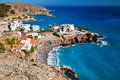 Chora sfakion from the west side view of small port town in south crete Stock Image