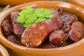 Chorizo al vino spicy sausage cooked in red wine traditional spanish tapas dish Stock Images
