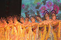 Chorus line of chinese show-girls Royalty Free Stock Photo