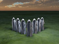 The chosen figures in cloaks upon green surface Royalty Free Stock Images