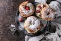 Choux cake Paris Brest with raspberries Royalty Free Stock Photo