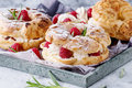 Choux cake Paris Brest with raspberries Royalty Free Stock Photo