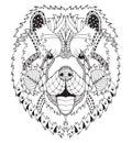 Čau pes štylizovaný hlava ruky ceruzka ručně malované vzor