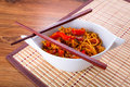 Chow mein noodles with chicken in chinese sauce Royalty Free Stock Photo