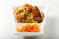 Chow mein noodles served with vegetables buckwheat Royalty Free Stock Photo