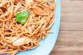 Chow mein vegetable on a blue plate Royalty Free Stock Photography