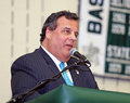 Chris christie new jersey republican governor addresses a large gathering at the livingston high school fieldhouse for the first Stock Image