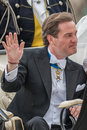 Chris o neill waving his hand in a carriage on the way to riddarholmen after the wedding stockholm sweden june with princess Stock Images