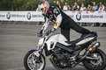 Chris pfeiffer on bmw f r moto during his show Stock Photo