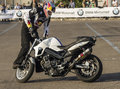 Chris pfeiffer on bmw f r moto during his show Stock Photography