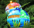Chrismas balls two christmas ball handing on a tree Royalty Free Stock Images