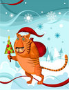 Chrismas tiger Stock Photography