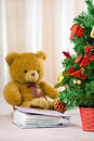 Chrismas tree and bear Stock Photography