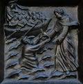 Christ, the almighty helper, relief on the door of the Grossmunster church in Zurich