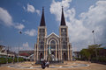 Christ church chanthaburi thailand february tourists to at chanthaburi thailand Royalty Free Stock Photos