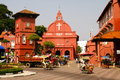 Christ church of malacca the red building in in malaysia in south east asia Royalty Free Stock Photo