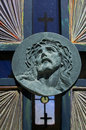 Christ face of jesus carved on a cemetery gate Royalty Free Stock Images