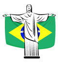 Christ flag rio de janeiro symbol the redeemer with brazilian Royalty Free Stock Photography