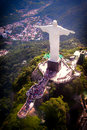 Christ the redeemer aerial view of statue on top of corcovado rio de janeiro brazil Stock Photo