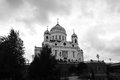 Christ the Redeemer Church in Moscow. Black and white photo. Royalty Free Stock Photo