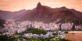 Christ the redeemer cityscape with statue in background corcovado rio de janeiro brazil Royalty Free Stock Photography