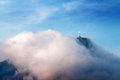 Christ the redeemer in clouds rio de janeiro brazil Royalty Free Stock Images