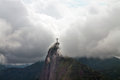 Christ the redeemer in clouds rio de janeiro brazil Royalty Free Stock Photography