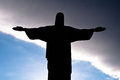 Christ the redeemer silhouette corcovado rio de janeiro statue on mountain with blue and cloudy sky behind in brazil Royalty Free Stock Photos