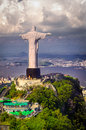 Christ the redeemer statue on top of corcovado rio de janeiro brazil Stock Photos