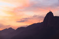 Christ the redeemer in sunset rio de janeiro on corcovado brazil Royalty Free Stock Photography