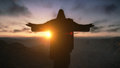 Christ the Redemeer at Sunrise, Rio de Janeiro, Brazil Royalty Free Stock Photo
