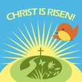 Christ is risen greeting card spting sunshine Stock Photography