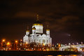 Christ the savior cathedral in moscow night view on russia Stock Images