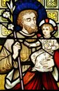 Colored stained leadlight church window Joseph holding baby Christ Jesus