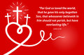 Christian scripture with abstract heart and cross on red background Royalty Free Stock Photo