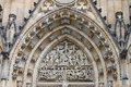 Christian carvings details of the st vitus church prague czech republic Stock Photos