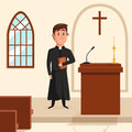 Christian catholic priest preaching at church. Holy father in robe or pastor with collar, pope with bible and clergyman