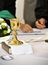Christian ceremony sacrament and with various accessories Royalty Free Stock Images