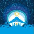 Christian Christmas nativity scene of baby Jesus in the manger Royalty Free Stock Photo