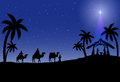 Christian christmas scene with the three wise men and star illustration Stock Photography
