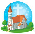 Christian Church With Cross, Vector Illustration. Christian Church Near Me.