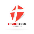Christian church logo with red cross icon design. Vector illustr Royalty Free Stock Photo