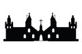 Christian churches silhouette on white background Royalty Free Stock Image