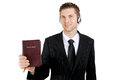 Christian counsellor holding a bible Royalty Free Stock Photo