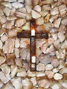 Christian Cross with Candles in Pastels Royalty Free Stock Photography