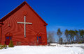 Christian cross on church building red white blue patriotism patriotic Royalty Free Stock Photo