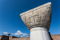 Christian cross on column header in selcuk ruins turkey with carved Royalty Free Stock Photo