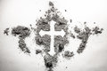 Christian cross drawing silhouette made in ash, dust, dirt as as Royalty Free Stock Photo