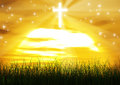 Christian cross jesus christ sun ray background a rising brighten up the land Royalty Free Stock Image