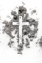Christian cross made in ash, dust as religion concept background Royalty Free Stock Photo